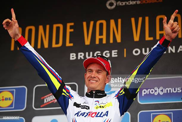Alexander Kristoff of Norway and Team Katusha celebrates on the podium after winning the 2015 Tour of Flanders from Bruges to Oudenaarde on April 5,...