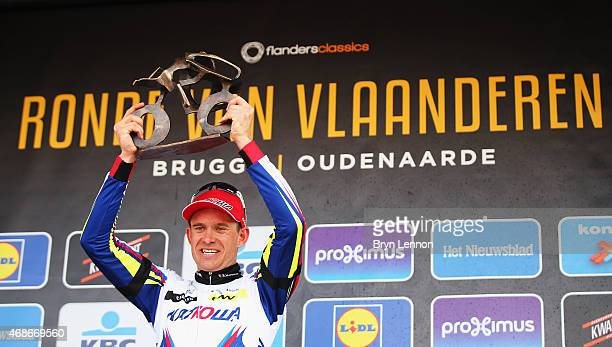 Alexander Kristoff of Norway and Team Katusha celebrates on the podium after winning the 2015 Tour of Flanders from Bruges to Oudenaarde on April 5...