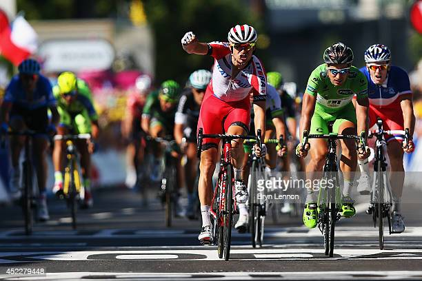 Alexander Kristoff of Norway and Team Katusha celebrates winning stage twelve of the 2014 Tour de France, a 186km stage between Bourg-en-Bresse and...