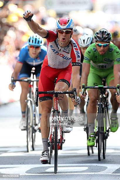 Alexander Kristoff of Norway and Team Katusha celebrates winning stage fifteen of the 2014 Tour de France a 222 km road stage from Tallard to Nimes...