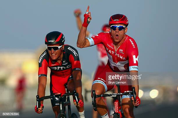 Alexander Kristoff of Norway and Team Katusha celebrates winning stage four of the 2016 Tour of Qatar a 189km road stage from Al Zuberah Fort to...