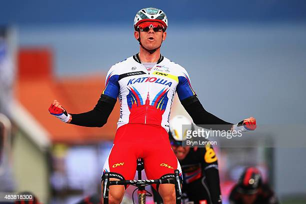 Alexander Kristoff of Norway and Team Katusha celebrates winning stage one of the 2015 Arctic Race of Norway, a 213.5km from Harstad to Harstad, on...