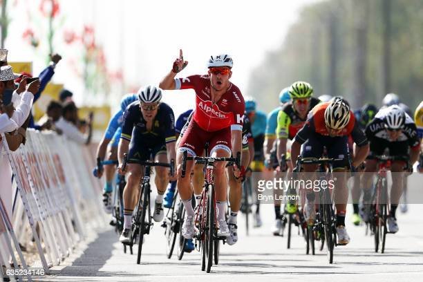 Alexander Kristoff of Norway and Team Katusha celebrates winning stage one of the 8th Tour of Oman a 1765km stage from Al Sawadi Beach to Naseem Park...