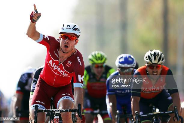 Alexander Kristoff of Norway and Team Katusha celebrates winning stage one of the 8th Tour of Oman, a 176.5km stage from Al Sawadi Beach to Naseem...