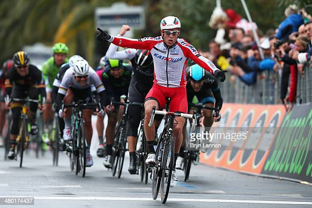 Alexander Kristoff of Norway and Team Katusha celebrates winning the 294 km 2014 edition of Milan - San Remo on March 23, 2014 in Milan, Italy.