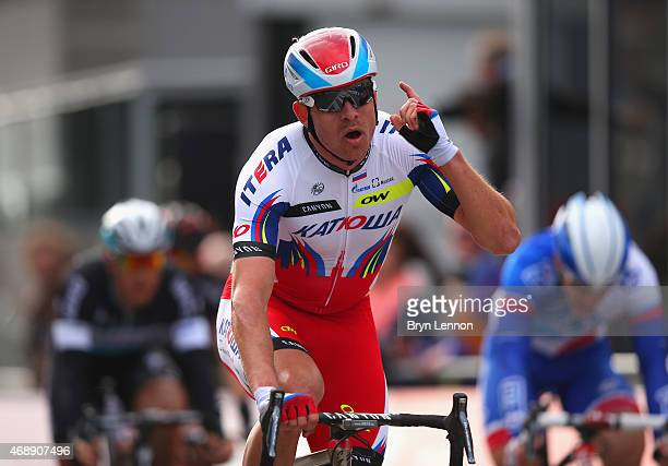 Alexander Kristoff of Norway and Team Katusha crosses the line in first place in the 103rd edition of the Scheldeprijs Cycle Race a 200km race from...