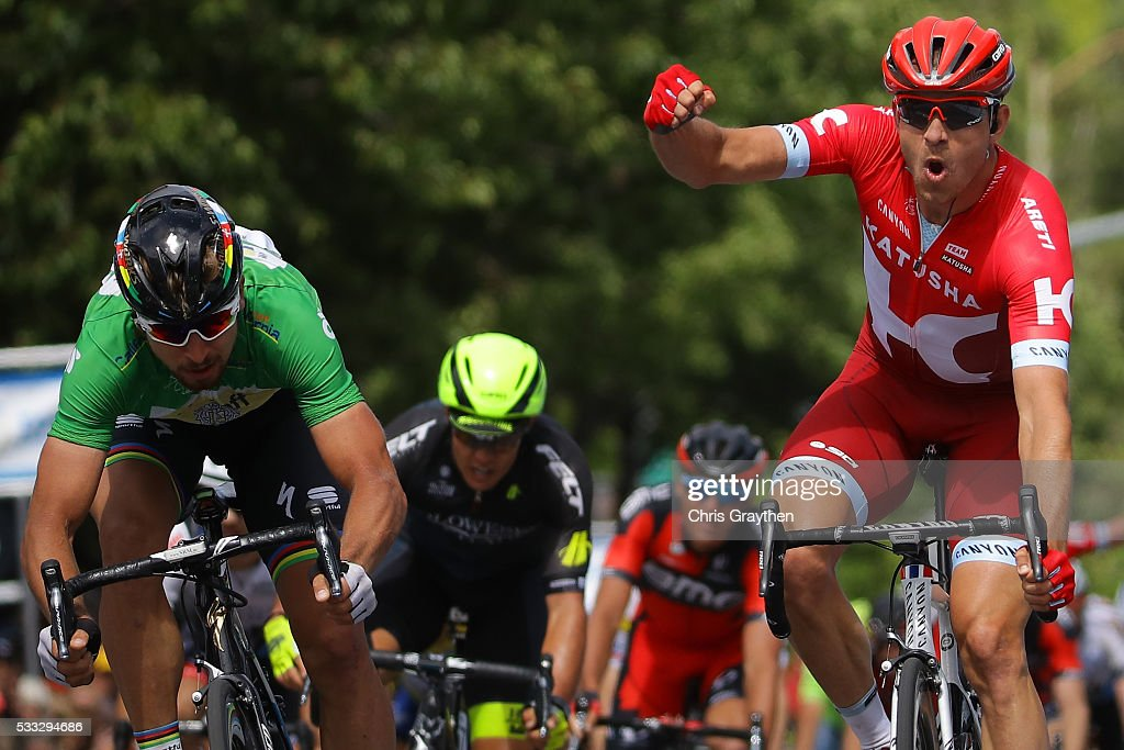 Alexander Kristoff of Norway riding for Team Katusha celebrates after winning ahead of Peter Sagan of Slovakia riding for Tinkoff during stage seven of the Amgen Tour of California on May 21, 2016 in Santa Rosa, California.