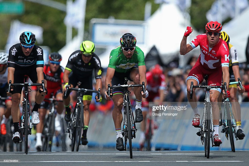 Alexander Kristoff of Norway riding for Team Katusha celebrates his victory ahead of Peter Sagan of Slovakia riding for Tinkoff in second place and Danny Van Poppel of The Netherlands riding for Team Sky in third place in stage seven of the 2016 Amgen Tour of California on May 21, 2016 in Santa Rosa, California.