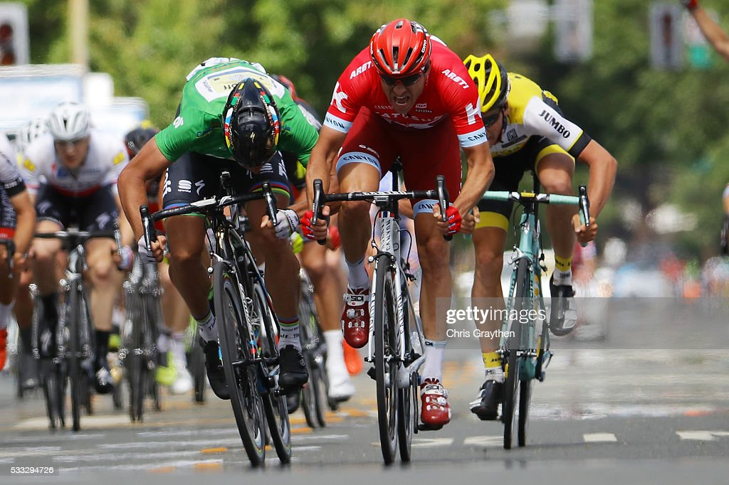 Alexander Kristoff of Norway riding for Team Katusha sprints ahead of Peter Sagan of Slovakia riding for Tinkoff during stage seven of the Amgen Tour of California on May 21, 2016 in Santa Rosa, California.
