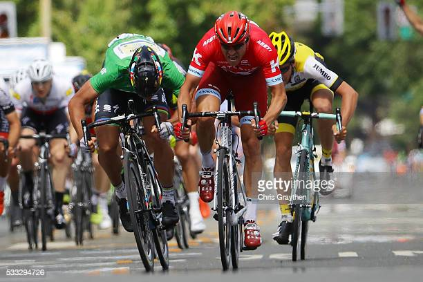 Alexander Kristoff of Norway riding for Team Katusha sprints ahead of Peter Sagan of Slovakia riding for Tinkoff during stage seven of the Amgen Tour...