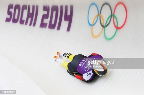 Alexander Kroeckel of Germany makes a run during a Men's Skeleton training session on Day 4 of the Sochi 2014 Winter Olympics at the Sanki Sliding...