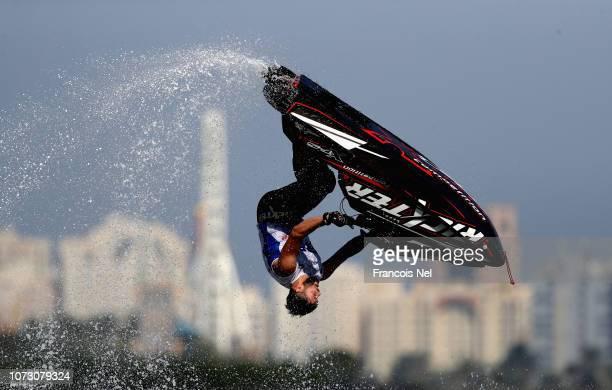 Alexander Kuramshin of Russia practice during the Men's Freestyle ahead of the UIMABP Aquabike Class Pro Circuit Grand Prix of Sharjah at Khalid...