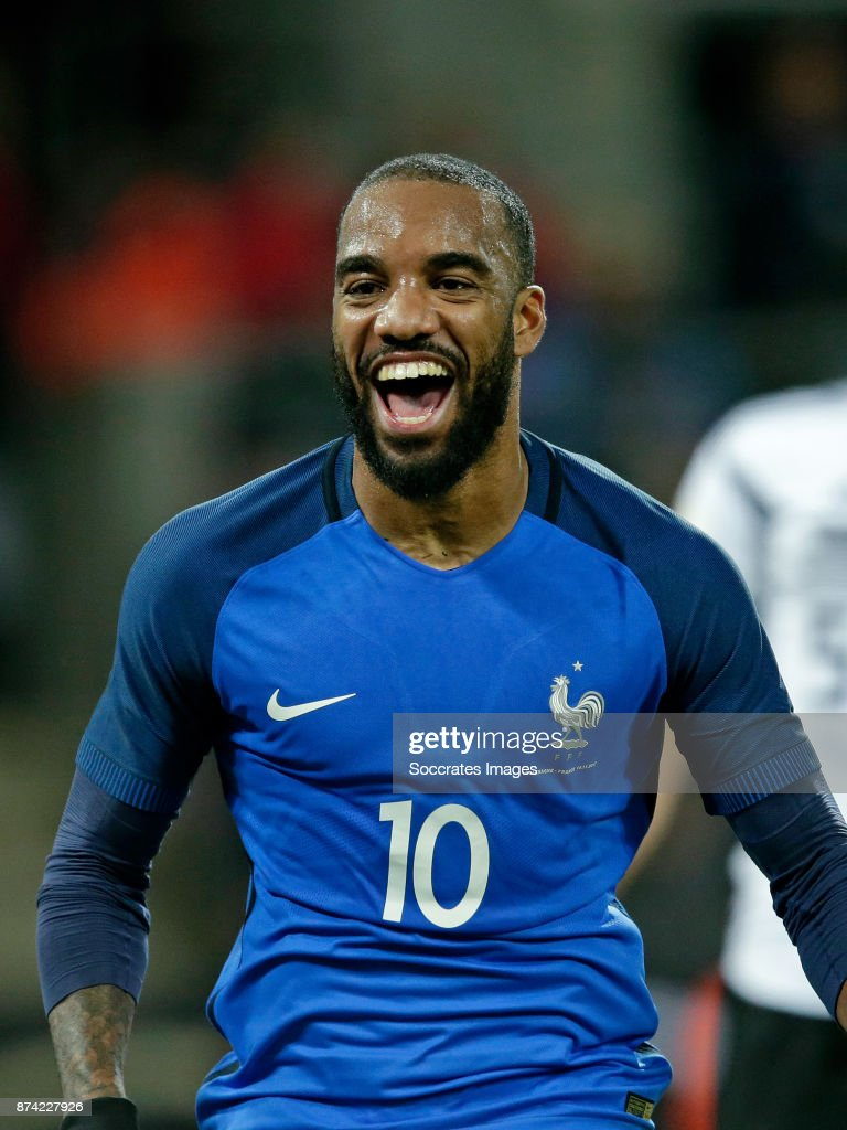 Alexander Lacazette of France celebrates during the International Friendly match between Germany v France at the RheinEnergie Stadium on November 14, 2017 in Koln Germany