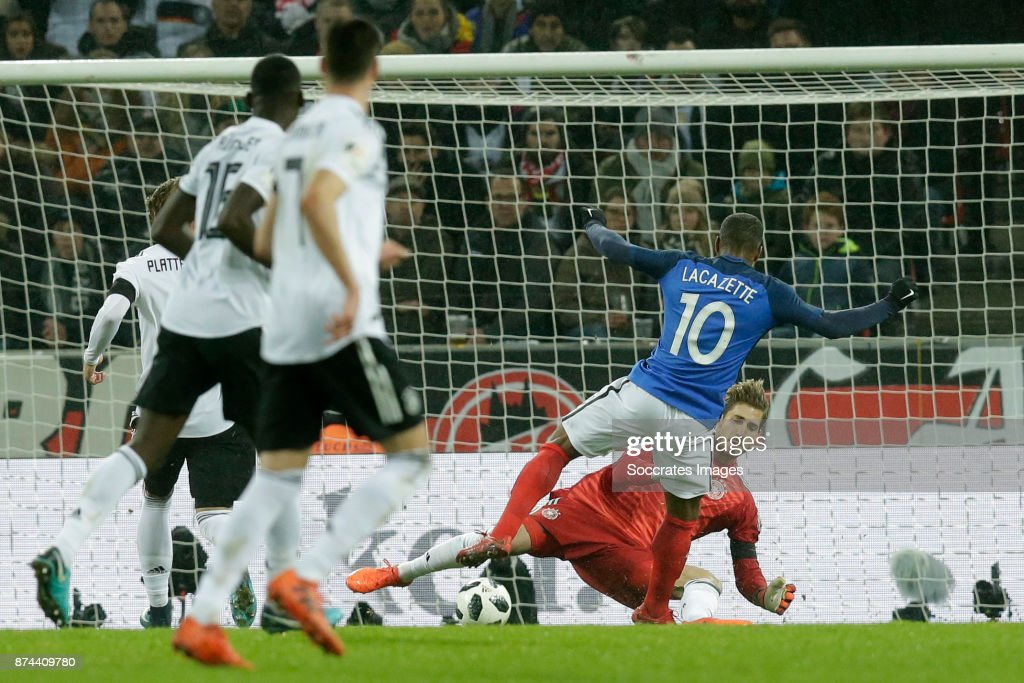Alexander Lacazette of France scores the third goal to make it 1-2 during the International Friendly match between Germany v France at the RheinEnergie Stadium on November 14, 2017 in Koln Germany