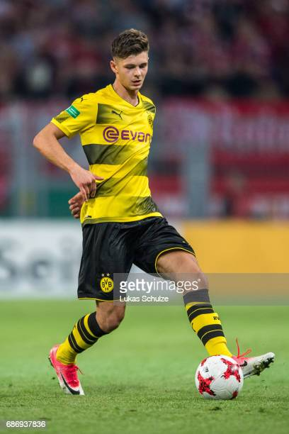 Alexander Laukart of Dortmund in action during the U19 German Championship Final between Borussia Dortmund and FC Bayern Muenchen on May 22 2017 in...