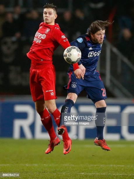 Alexander Laukart of FC Twente Lasse Schone of Ajax during the Dutch KNVB Beker match between Fc Twente v Ajax at the De Grolsch Veste on December 20...
