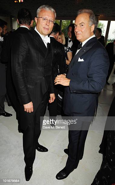 Alexander Lebedev and Charles Finch attend the Raisa Gorbachev Foundation Party at Stud House Hampton Court Palace on June 5 2010 in Richmond upon...