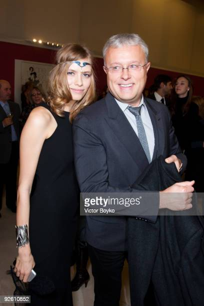 Alexander Lebedev and Elena Perminova attend the opening of the Diane von Fustenberg exhibition at The Manezh on October 30, 2009 in Moscow, Russia.