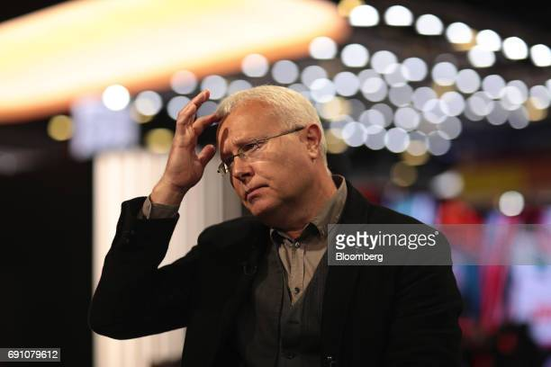 Alexander Lebedev Russian billionaire pauses during a Bloomberg Television interview in the St Petersburg International Economic Forum at the...