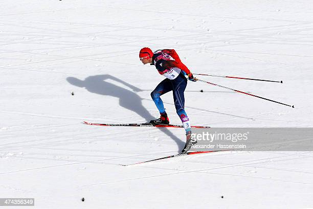 Alexander Legkov of Russia competes in the Men's 50 km Mass Start Free during day 16 of the Sochi 2014 Winter Olympics at Laura Cross-country Ski &...