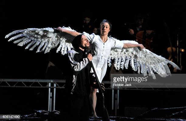 Alexander Leonhartsberger and Rachel Poirier in Michael KeeganDolan's Swan Lake at Sadlers Wells Theatre on November 25 2016 in London England