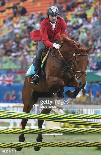 Alexander Lesun of Russia during the show jumping round of Modern Pentathlon on Day 15 of the Rio 2016 Olympic Games at Deodoro Stadium on August 20,...