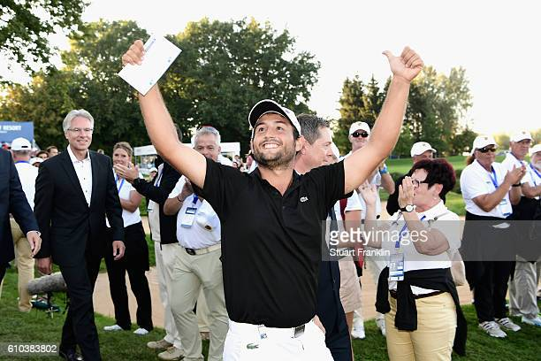 Alexander Levy of France celebrates victory in the final round of the Porsche European Open at Golf Resort Bad Griesbach on September 25 2016 in...