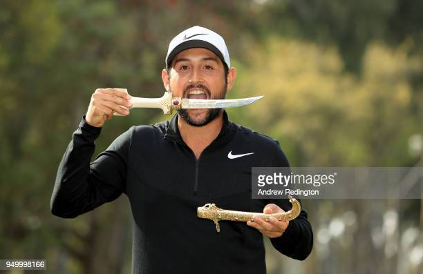 Alexander Levy of France celebrates with the winners trophy after the final round of the Trophee Hassan II at Royal Golf Dar Es Salam on April 22...