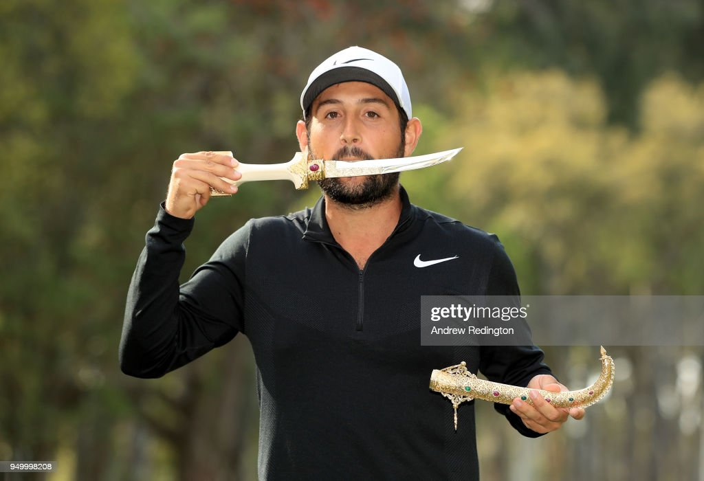 Alexander Levy of France celebrates with the winners trophy after the final round of the Trophee Hassan II at Royal Golf Dar Es Salam on April 22, 2018 in Rabat, Morocco.