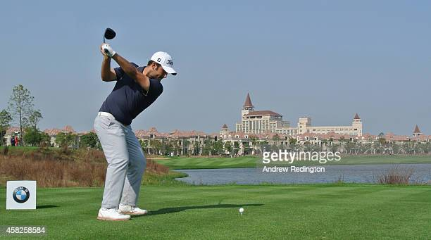 Alexander Levy of France hits his teeshot on the ninth hole during the final round of the BMW Masters at Lake Malaren Golf Club on November 2 2014 in...