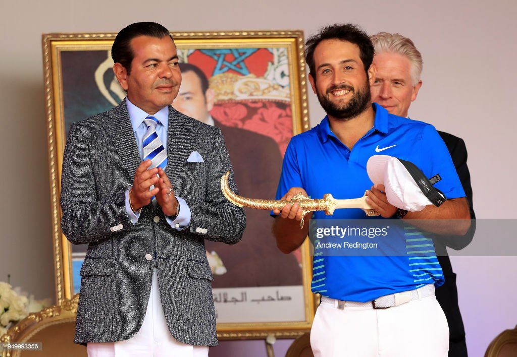 Alexander Levy of France is presented with the winners trophy by HRH Prince Moulay Rachid of Morocco after the final round of the Trophee Hassan II at Royal Golf Dar Es Salam on April 22, 2018 in Rabat, Morocco.