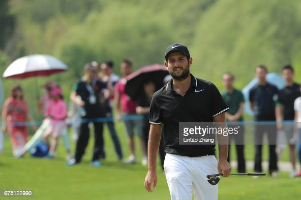 Alexander Levy of France looks on after a putt during the final round of the 2017 Volvo China Open at Topwin Golf and Country Club on April 30 2017...