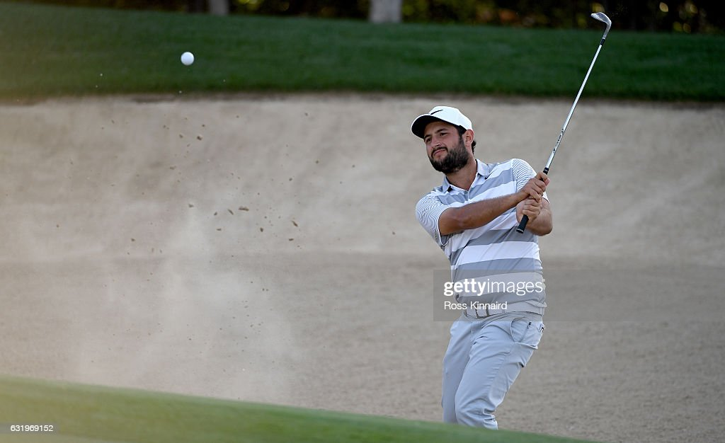 Alexander Levy of France on the 4th hole during the pro-am event prior to the Abu Dhabi HSBC Championship at Abu Dhabi Golf Club on January 18, 2017 in Abu Dhabi, United Arab Emirates.