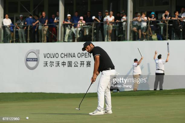 Alexander Levy of France plays a shot during the final round of the 2017 Volvo China Open at Topwin Golf and Country Club on April 30 2017 in Beijing...