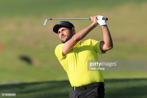 Alexander Levy of France plays a shot during the first round of the 2017 Volvo China open at Topwin Golf and Country Club on April 27 2017 in Beijing...
