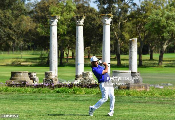Alexander Levy of France plays an iron during day 2 of the Trophee Hassan II at Royal Golf Dar Es Salam on April 14 2017 in Rabat Morocco