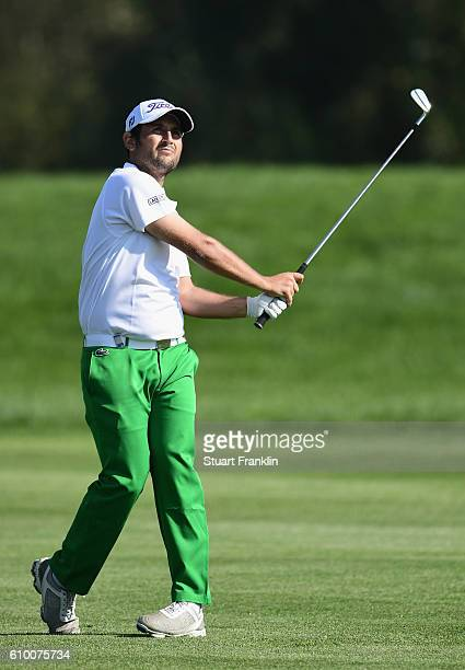 Alexander Levy of France plays an iron shot during the second round on day three of the Porsche European Open at Golf Resort Bad Griesbach on...