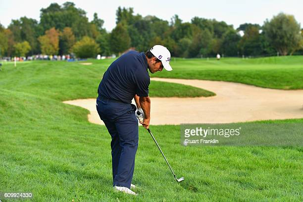 Alexander Levy of France plays an iron shot from the rough during the second round on day two of the Porsche European Open at Golf Resort Bad...