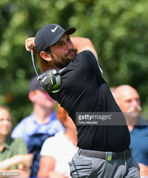 Alexander Levy of France plays his first shot on the 12th tee during the Porsche European Open Day Four at Green Eagle Golf Course on July 30 2017 in...