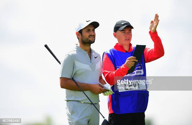 Alexander Levy of France plays his first shot on the 4th tee during the Porsche European Open Pro Am at Green Eagle Golf Course on July 26 2017 in...