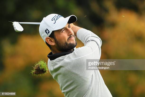 Alexander Levy of France plays his second shot on the first hole during the fourth round of the British Masters at The Grove on October 16 2016 in...