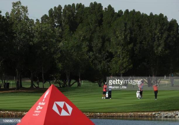 Alexander Levy of France plays his second shot on the sixth hole during Day Three of the Abu Dhabi HSBC Golf Championship at Abu Dhabi Golf Club on...