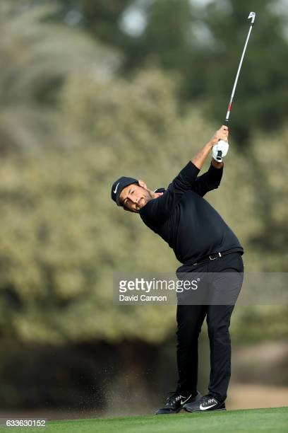 Alexander Levy of France plays his second shot on the third hole during the second round of the 2017 Omega Dubai Desert Classic on the Majlis Course...