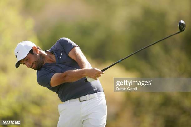 Alexander Levy of France plays his shot from the third tee during the first round of the World Golf ChampionshipsDell Match Play at Austin Country...