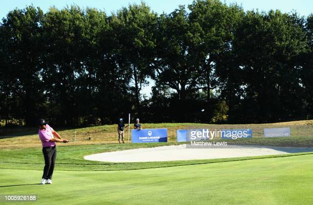 Alexander Levy of France plays his third shot on the 11th hole during day two of the Porsche European Open at Green Eagle Golf Course on July 27 2018...