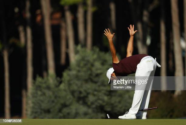 Alexander Levy of France reacts after missing a putt on the 12th green during the third round of the of the Turkish Airlines Open on November 3 2018...