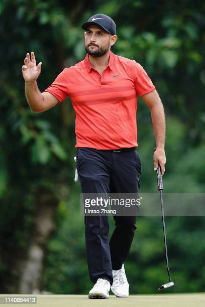 Alexander Levy of France reacts after plays a shot during the day two of the 2019 Volvo China Open at Genzon Golf Club on May 3 2019 in Chengdu China