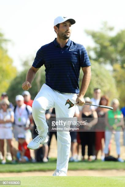 Alexander Levy of France reacts to a missed putt for eagle on the tenth green during round three of the Abu Dhabi HSBC Golf Championship at Abu Dhabi...