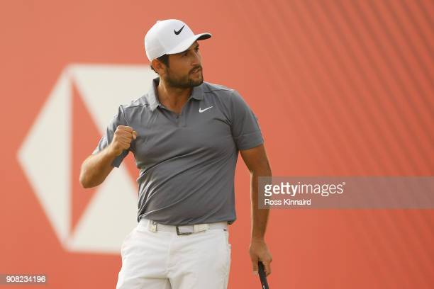 Alexander Levy of France reacts to his birdie on the 18th green during the final round of the Abu Dhabi HSBC Golf Championship at Abu Dhabi Golf Club...