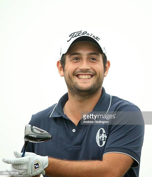 Alexander Levy of France smiles on the 15th hole during the third round of the BMW Masters at Lake Malaren Golf Club on November 1 2014 in Shanghai...
